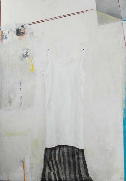 Absence 2012 Acrylique et techniques mixtes sur bois 42''X60''