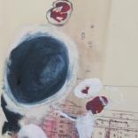 """Fleurs de béton, 2008 Technique mixte sur papier chiffon 12""""x26"""" Collection particulière"""