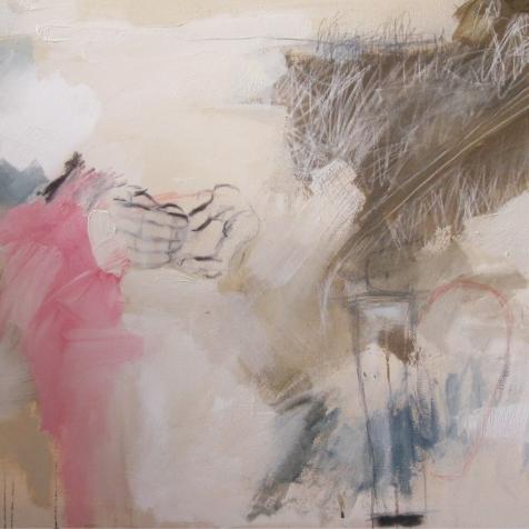 """Oraison 2009 Acrylique et mix média sur toile 48""""x30"""" Collection particulière"""